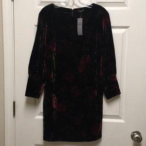 Petite Cuffed Floral  Velvet Shift Dress ,size- SP